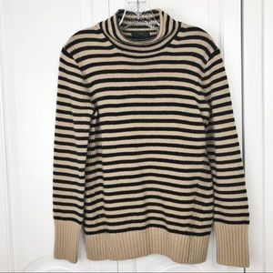 J.crew striped funnel neck sweater merino wool